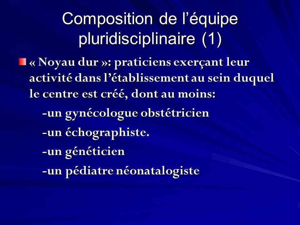 Composition de léquipe pluridisciplinaire (1) « Noyau dur »: praticiens exerçant leur activité dans létablissement au sein duquel le centre est créé,