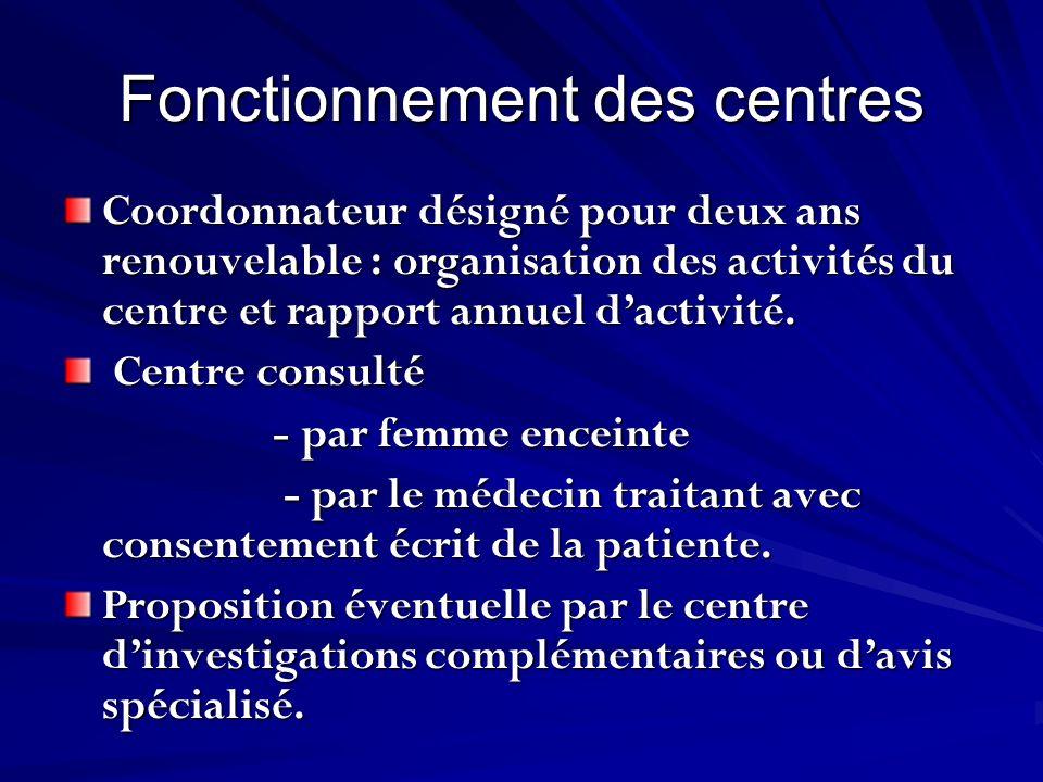 Fonctionnement des centres Coordonnateur désigné pour deux ans renouvelable : organisation des activités du centre et rapport annuel dactivité. Centre