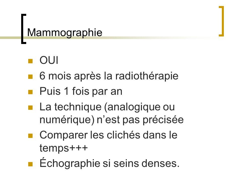 Mammographie OUI 6 mois après la radiothérapie Puis 1 fois par an La technique (analogique ou numérique) nest pas précisée Comparer les clichés dans le temps+++ Échographie si seins denses.
