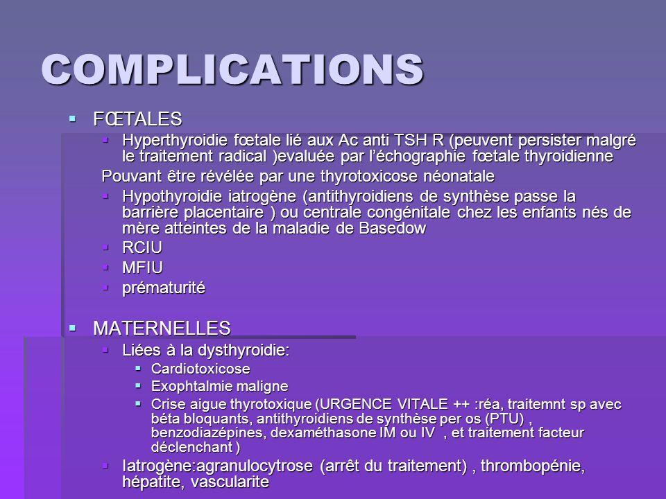 COMPLICATIONS FŒTALES FŒTALES Hyperthyroidie fœtale lié aux Ac anti TSH R (peuvent persister malgré le traitement radical )evaluée par léchographie fœ