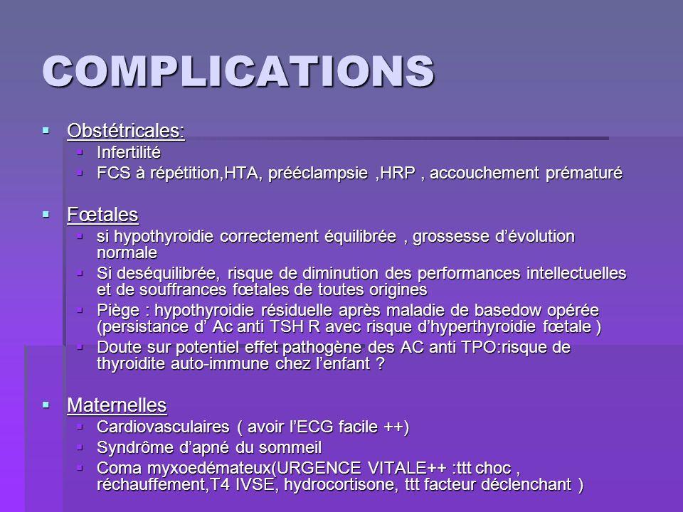 COMPLICATIONS Obstétricales: Obstétricales: Infertilité Infertilité FCS à répétition,HTA, prééclampsie,HRP, accouchement prématuré FCS à répétition,HT