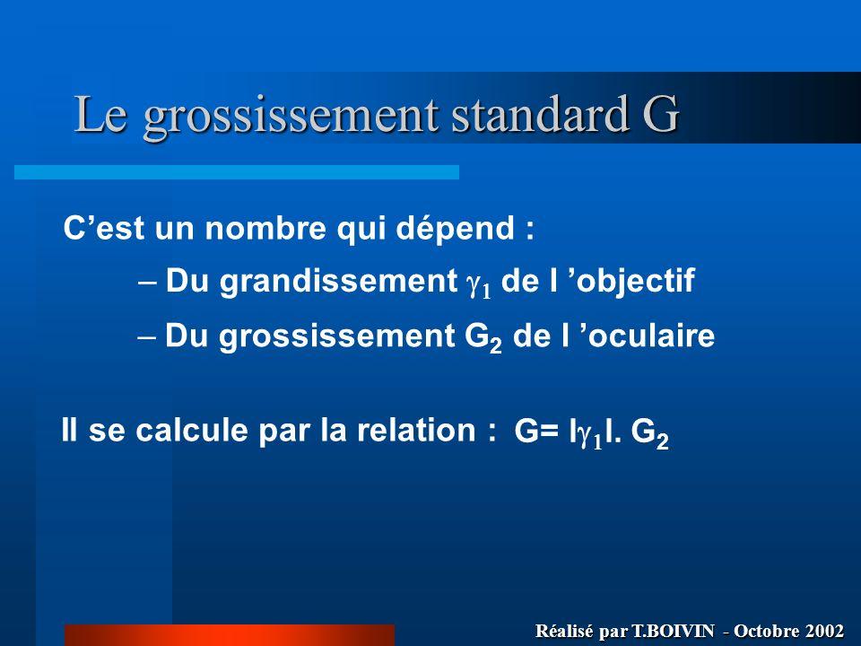 Le grossissement standard G Cest un nombre qui dépend : –Du grandissement de l objectif –Du grossissement G 2 de l oculaire Il se calcule par la relat