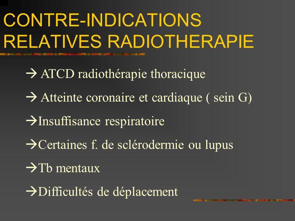 CONTRE-INDICATIONS RELATIVES RADIOTHERAPIE ATCD radiothérapie thoracique Atteinte coronaire et cardiaque ( sein G) Insuffisance respiratoire Certaines