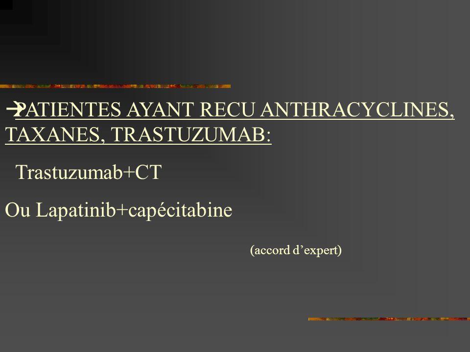 PATIENTES AYANT RECU ANTHRACYCLINES, TAXANES, TRASTUZUMAB: Trastuzumab+CT Ou Lapatinib+capécitabine (accord dexpert)