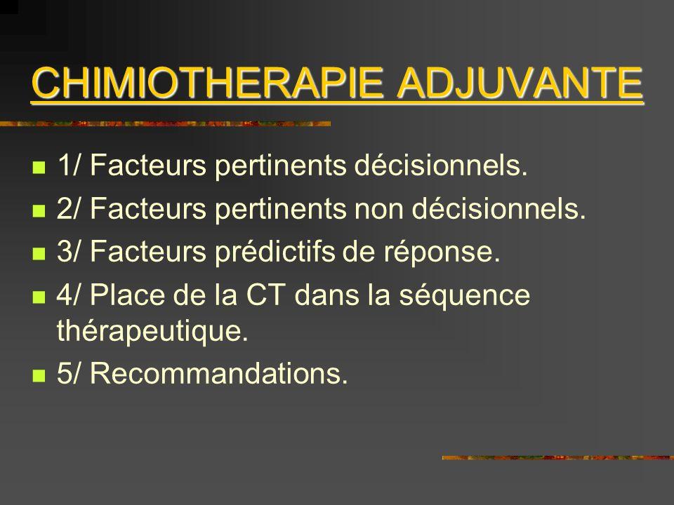 5/ RECOMMANDATIONS 5/ RECOMMANDATIONS: Indication et Type de CT adjuvante.