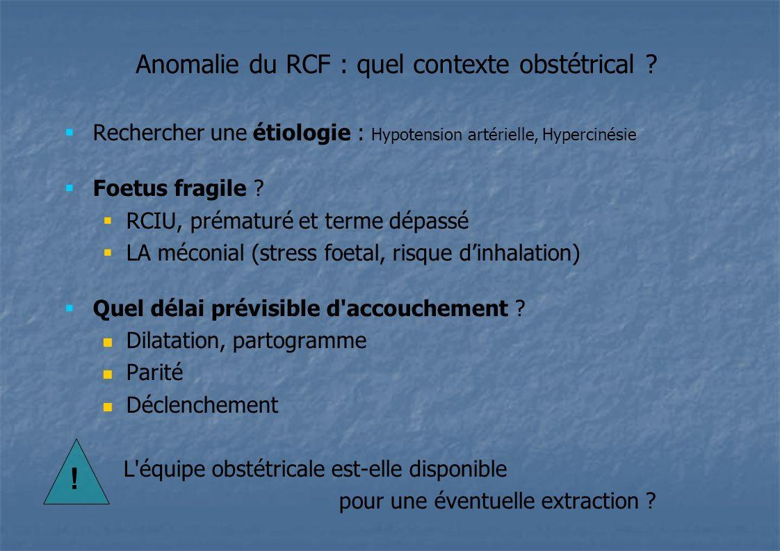 Anomalie du RCF : quel contexte obstétrical ? Rechercher une étiologie : Hypotension artérielle, Hypercinésie Foetus fragile ? RCIU, prématuré et term