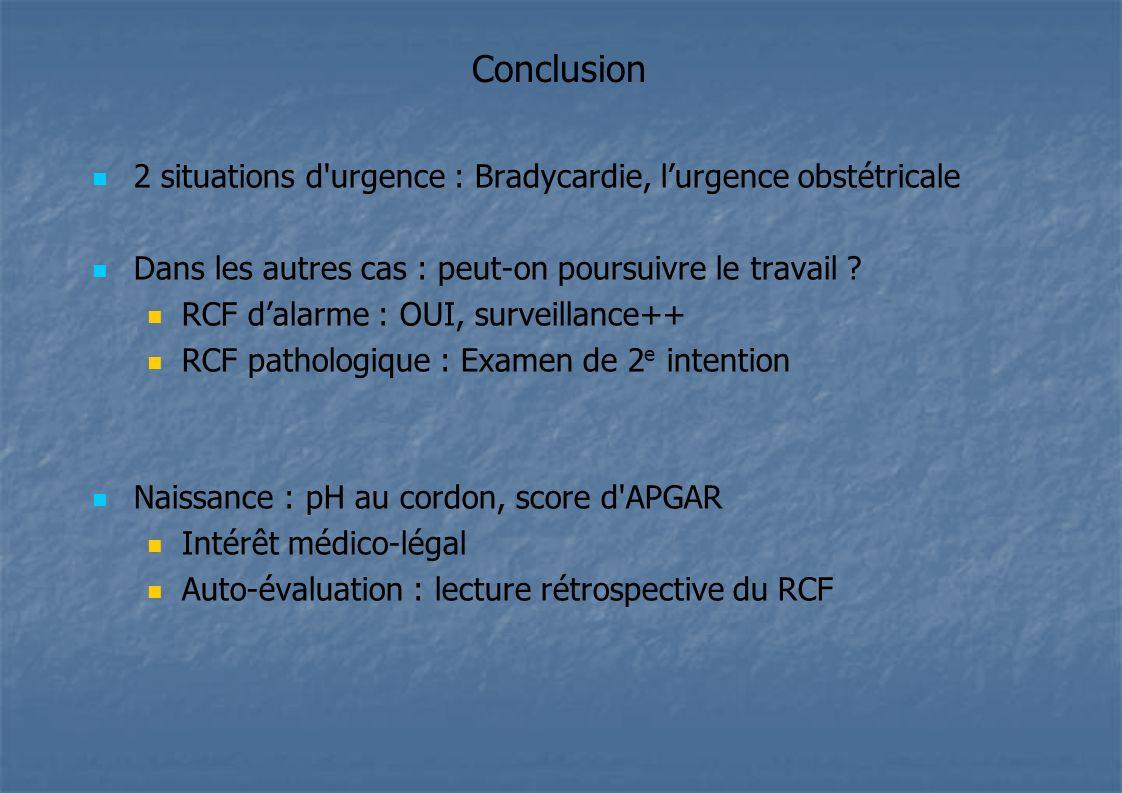 Conclusion 2 situations d'urgence : Bradycardie, lurgence obstétricale Dans les autres cas : peut-on poursuivre le travail ? RCF dalarme : OUI, survei