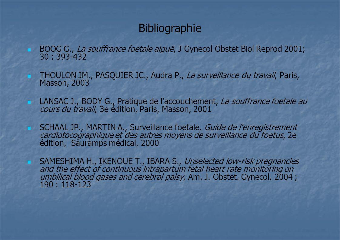 Bibliographie BOOG G., La souffrance foetale aiguë, J Gynecol Obstet Biol Reprod 2001; 30 : 393-432 THOULON JM., PASQUIER JC., Audra P., La surveillan
