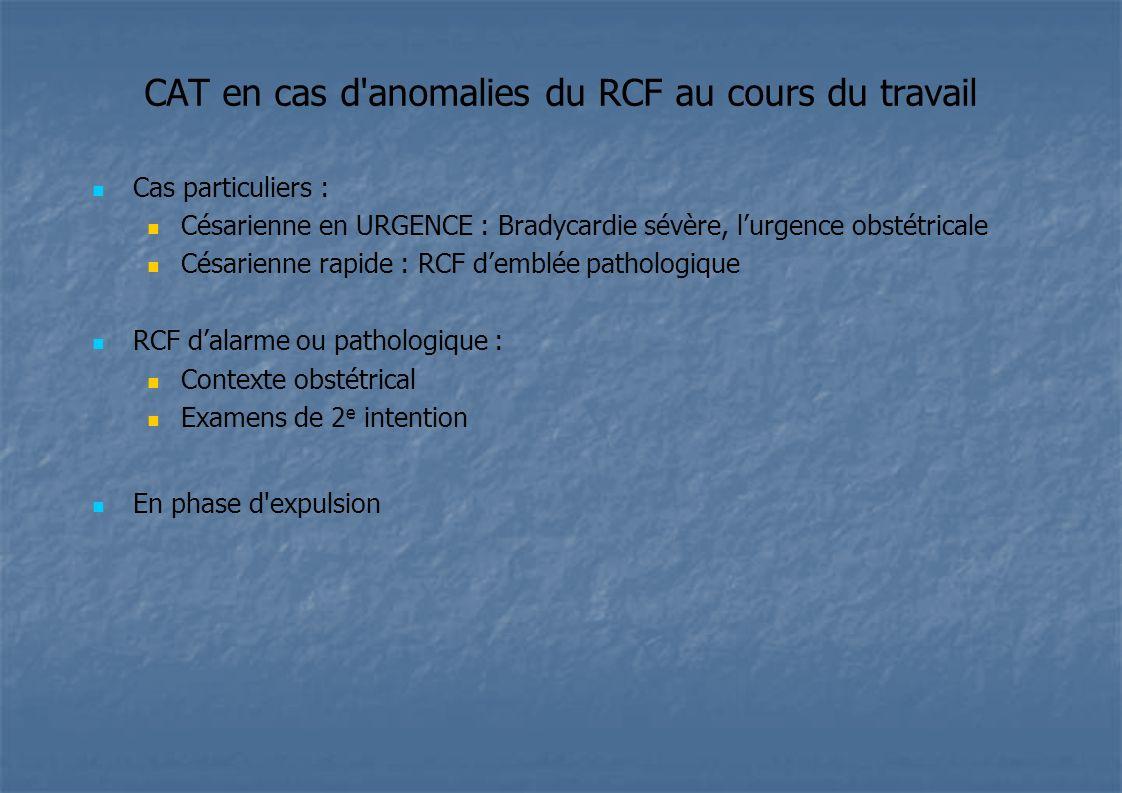 CAT en cas d'anomalies du RCF au cours du travail Cas particuliers : Césarienne en URGENCE : Bradycardie sévère, lurgence obstétricale Césarienne rapi