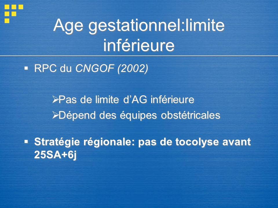Age gestationnel:limite inférieure RPC du CNGOF (2002) Pas de limite dAG inférieure Dépend des équipes obstétricales Stratégie régionale: pas de tocol
