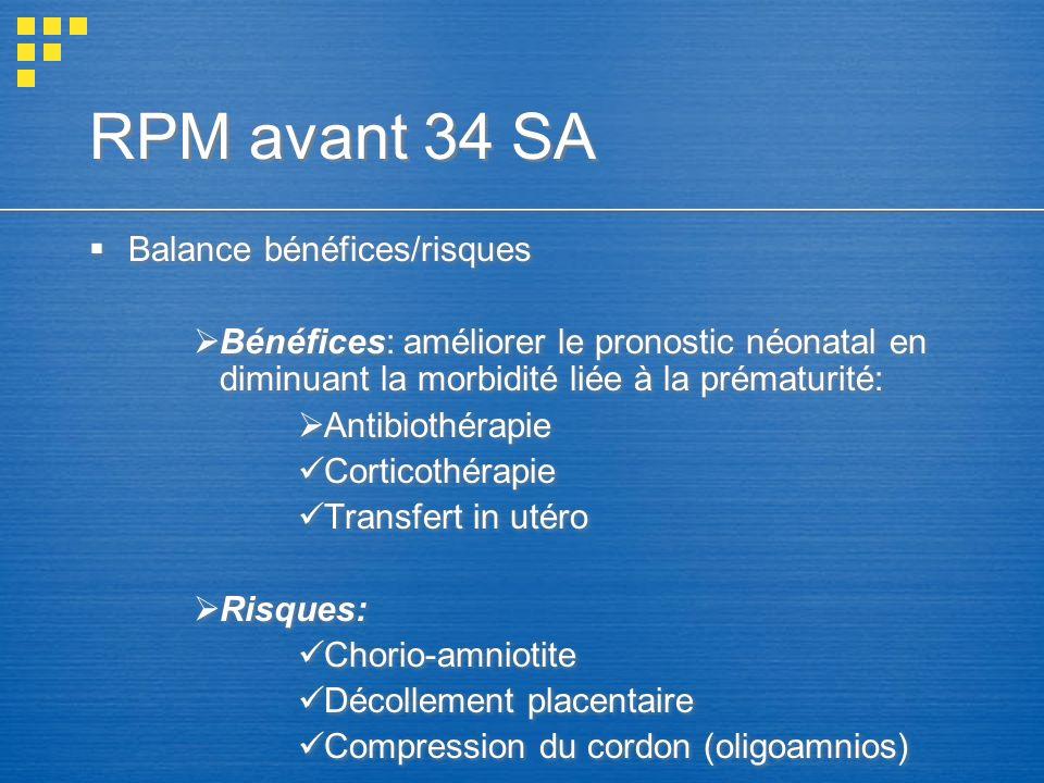 RPM avant 34 SA Balance bénéfices/risques Bénéfices: améliorer le pronostic néonatal en diminuant la morbidité liée à la prématurité: Antibiothérapie