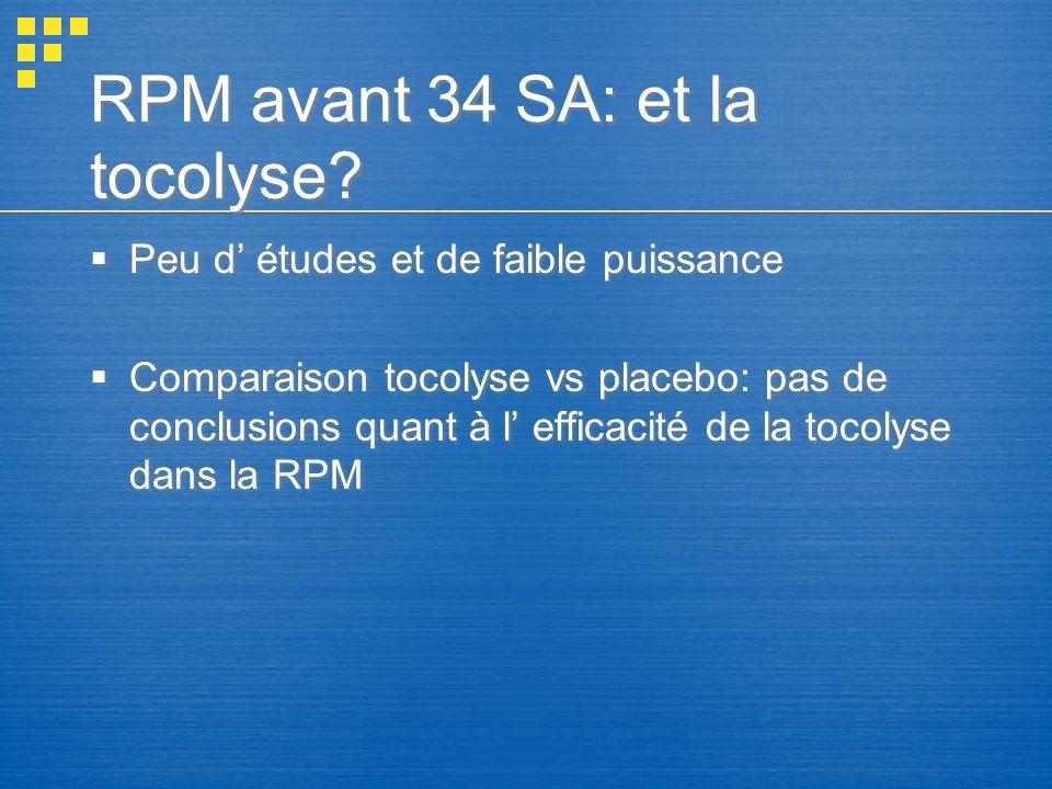 RPM avant 34 SA: et la tocolyse? Peu d études et de faible puissance Comparaison tocolyse vs placebo: pas de conclusions quant à l efficacité de la to