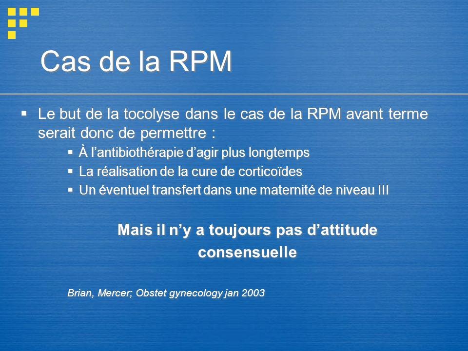 Cas de la RPM Le but de la tocolyse dans le cas de la RPM avant terme serait donc de permettre : À lantibiothérapie dagir plus longtemps La réalisatio