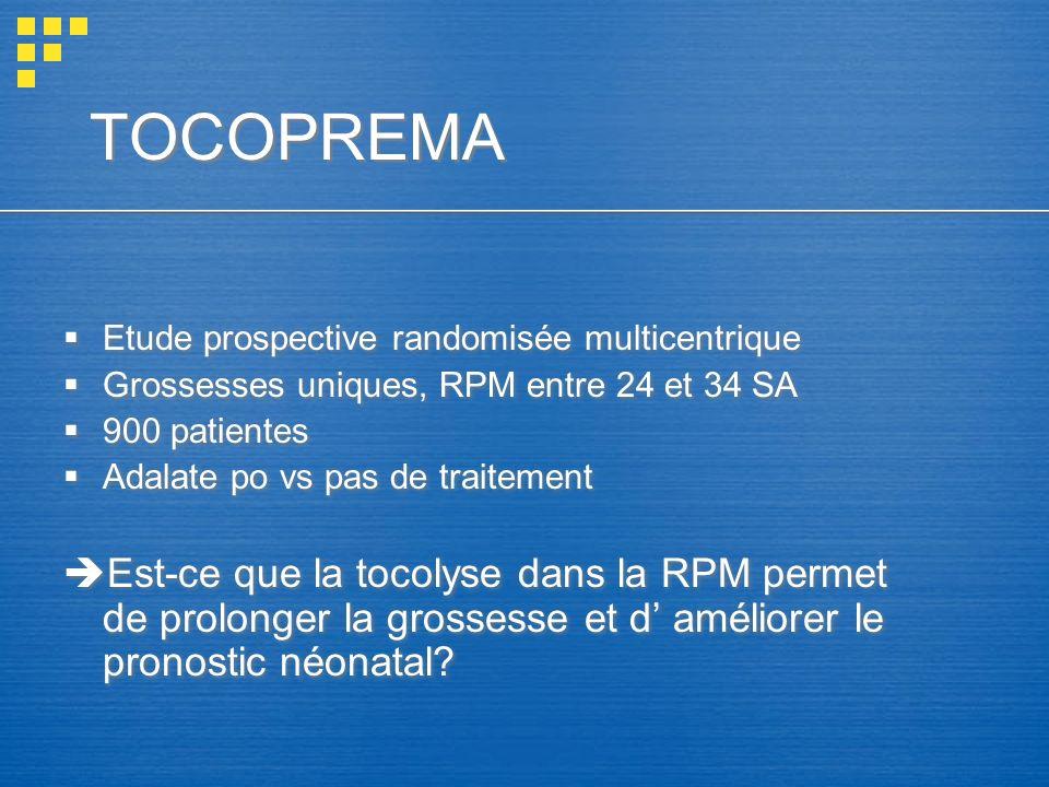 TOCOPREMA Etude prospective randomisée multicentrique Grossesses uniques, RPM entre 24 et 34 SA 900 patientes Adalate po vs pas de traitement Est-ce q