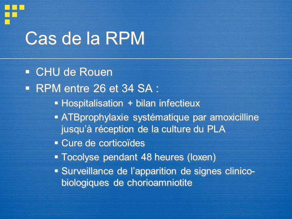 Cas de la RPM CHU de Rouen RPM entre 26 et 34 SA : Hospitalisation + bilan infectieux ATBprophylaxie systématique par amoxicilline jusquà réception de