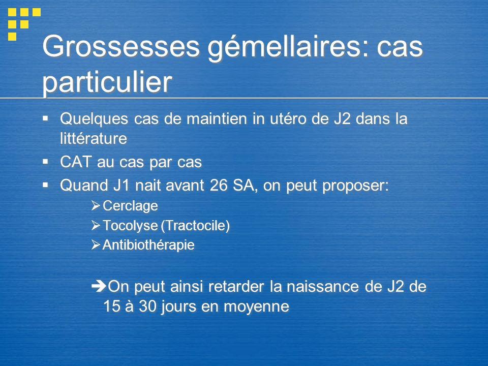 Grossesses gémellaires: cas particulier Quelques cas de maintien in utéro de J2 dans la littérature CAT au cas par cas Quand J1 nait avant 26 SA, on p