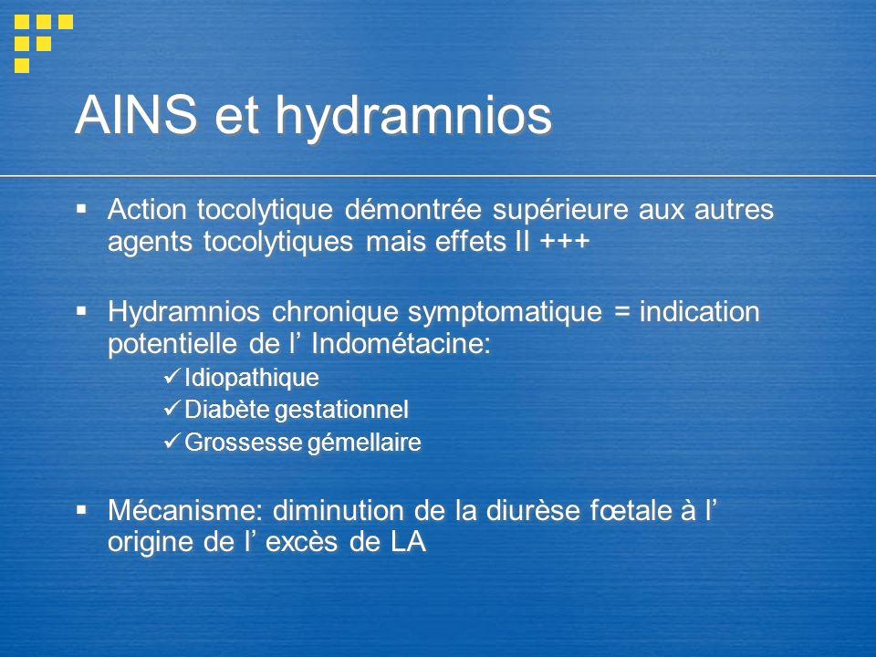 AINS et hydramnios Action tocolytique démontrée supérieure aux autres agents tocolytiques mais effets II +++ Hydramnios chronique symptomatique = indi