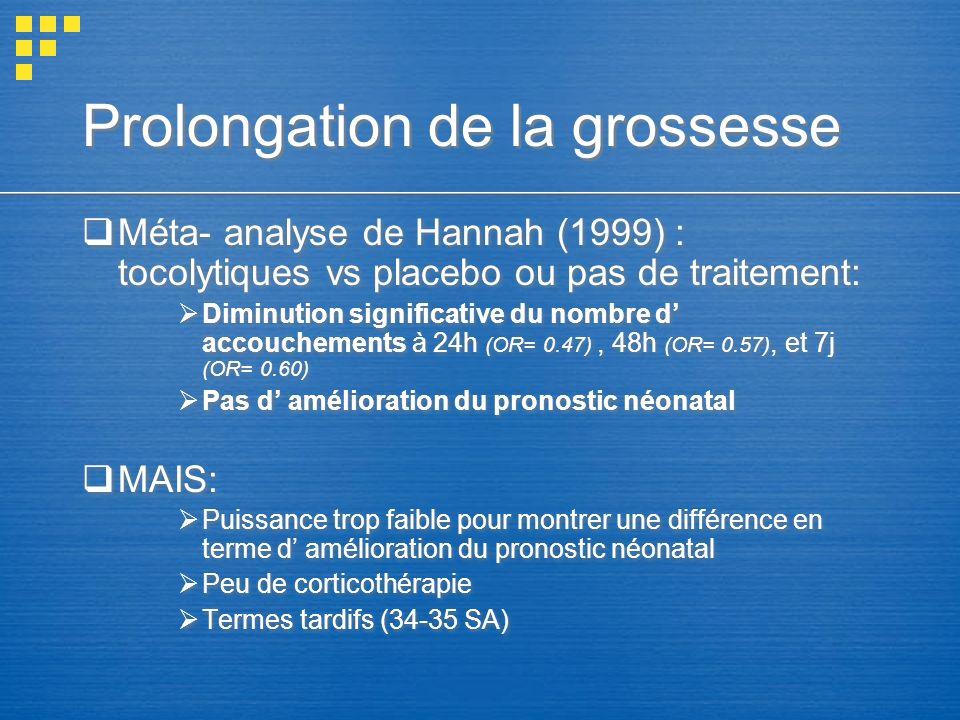 Prolongation de la grossesse Méta- analyse de Hannah (1999) : tocolytiques vs placebo ou pas de traitement: Diminution significative du nombre d accou