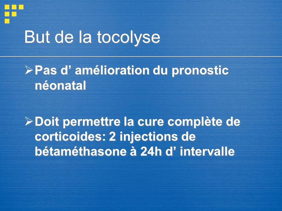 But de la tocolyse Pas d amélioration du pronostic néonatal Doit permettre la cure complète de corticoides: 2 injections de bétaméthasone à 24h d inte