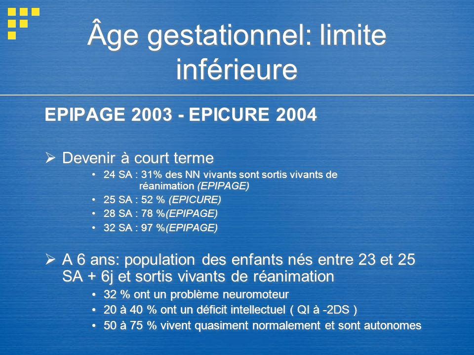 Âge gestationnel: limite inférieure EPIPAGE 2003 - EPICURE 2004 Devenir à court terme 24 SA : 31% des NN vivants sont sortis vivants de réanimation (E