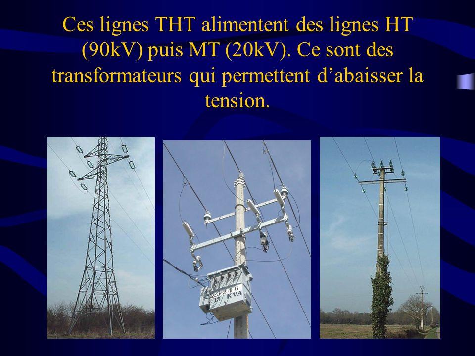 Ces lignes THT alimentent des lignes HT (90kV) puis MT (20kV). Ce sont des transformateurs qui permettent dabaisser la tension.