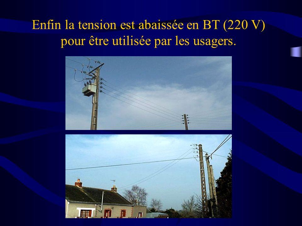 Enfin la tension est abaissée en BT (220 V) pour être utilisée par les usagers.