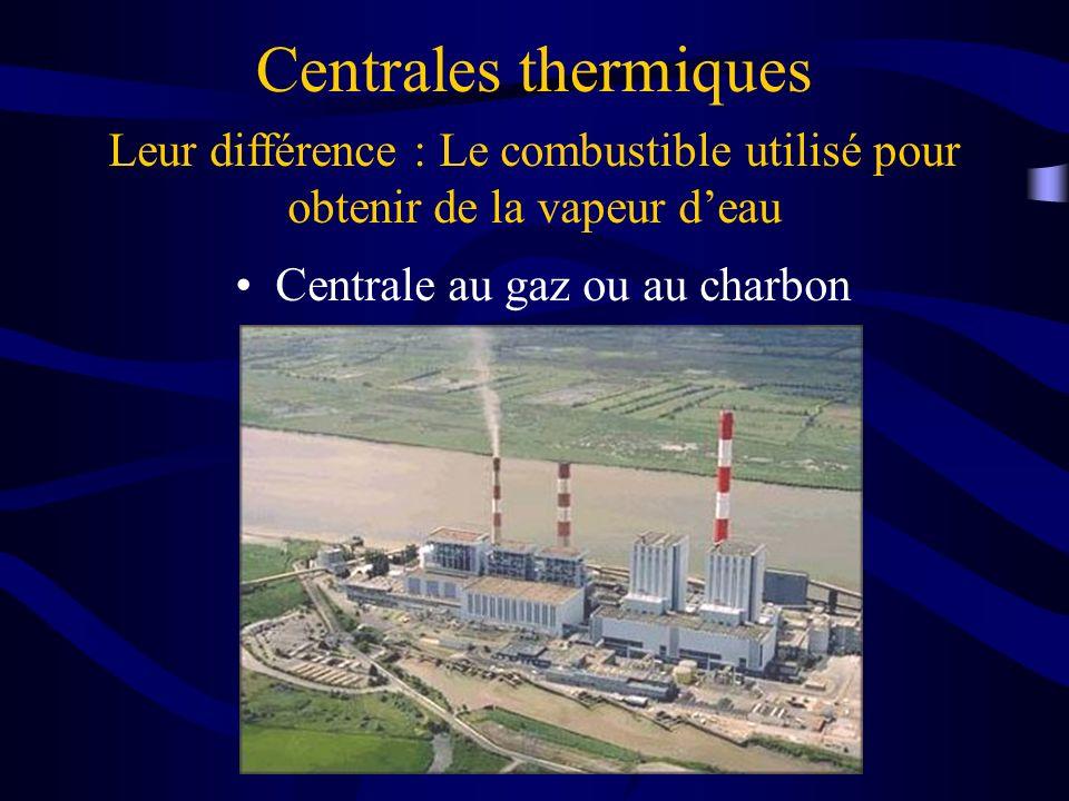 Centrales thermiques Centrale au gaz ou au charbon Leur différence : Le combustible utilisé pour obtenir de la vapeur deau