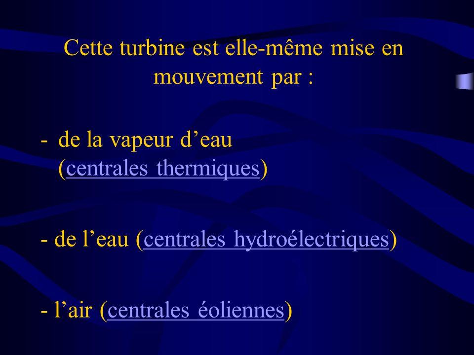 Cette turbine est elle-même mise en mouvement par : -de la vapeur deau (centrales thermiques)centrales thermiques - de leau (centrales hydroélectrique