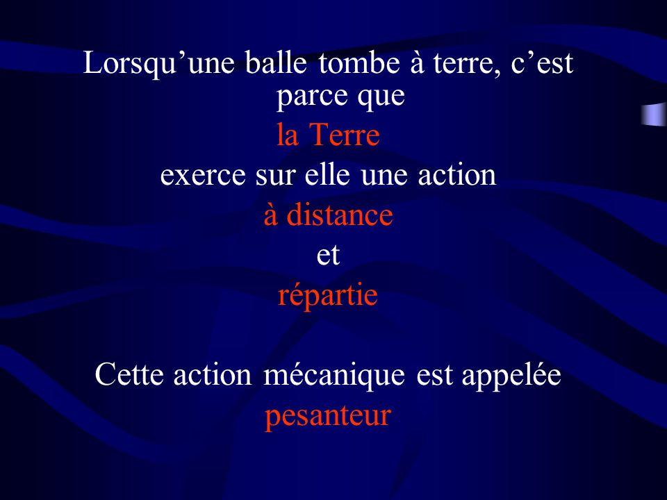 Lorsquune balle tombe à terre, cest parce que la Terre exerce sur elle une action à distance et répartie Cette action mécanique est appelée pesanteur