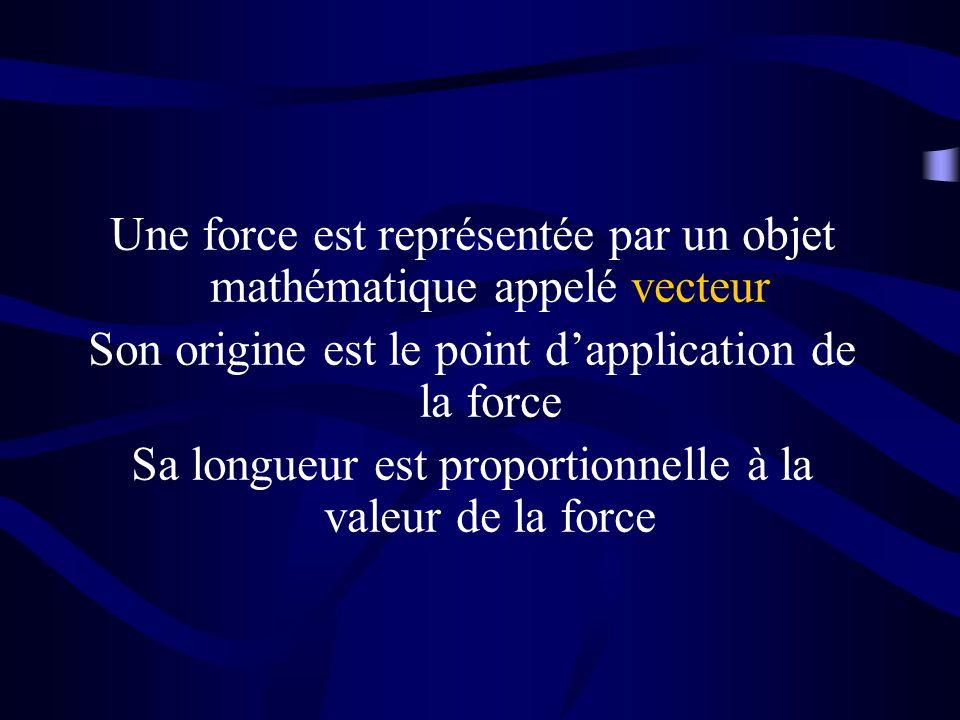 Une force est représentée par un objet mathématique appelé vecteur Son origine est le point dapplication de la force Sa longueur est proportionnelle à