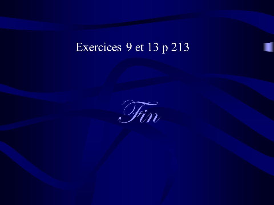 Fin Exercices 9 et 13 p 213