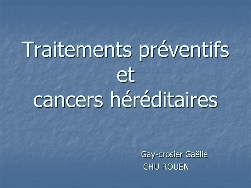 CHIMIOPREVENTION: Tamoxifène LeTamoxifène réduirait lincidence de cancer du sein de 62% chez les femmes BRCA 2.