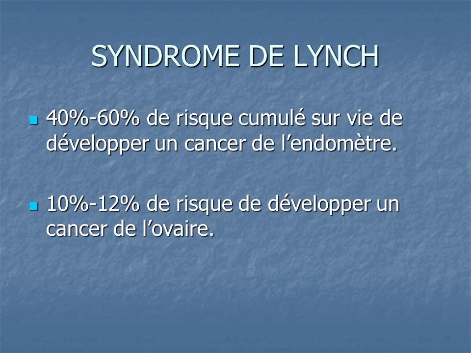 SYNDROME DE LYNCH 40%-60% de risque cumulé sur vie de développer un cancer de lendomètre. 40%-60% de risque cumulé sur vie de développer un cancer de
