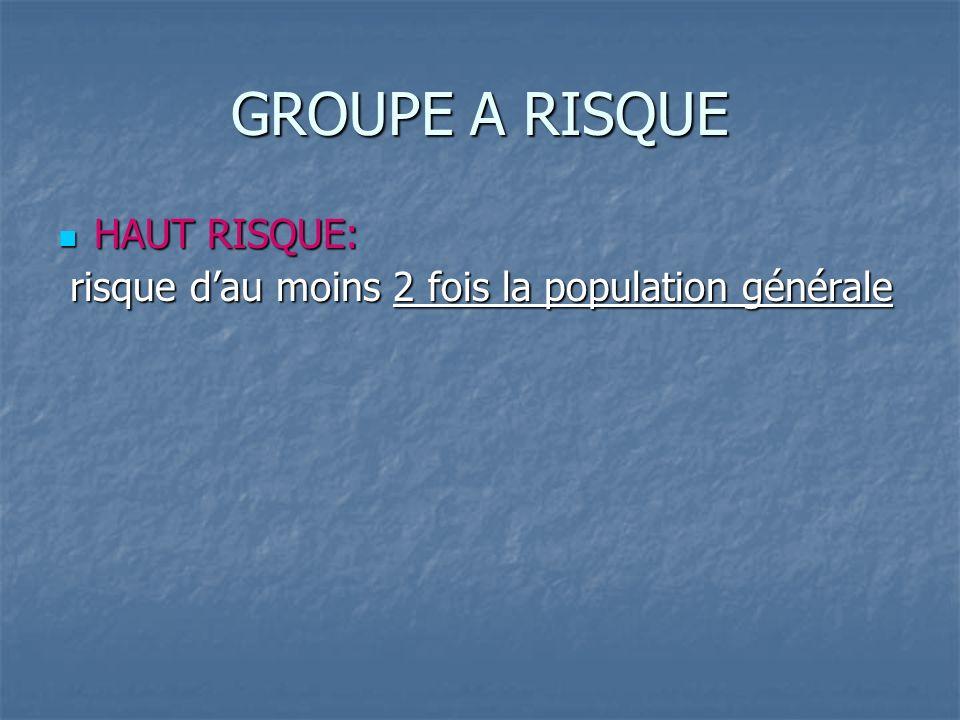 GROUPE A RISQUE HAUT RISQUE: HAUT RISQUE: risque dau moins 2 fois la population générale risque dau moins 2 fois la population générale