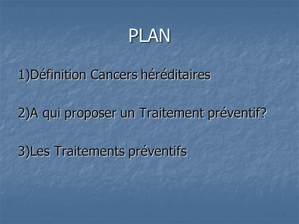 PLAN 1)Définition Cancers héréditaires 2)A qui proposer un Traitement préventif? 3)Les Traitements préventifs