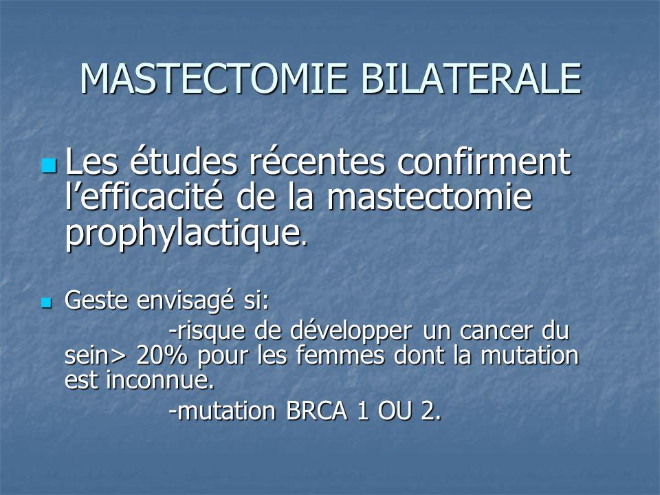 MASTECTOMIE BILATERALE Les études récentes confirment lefficacité de la mastectomie prophylactique. Les études récentes confirment lefficacité de la m