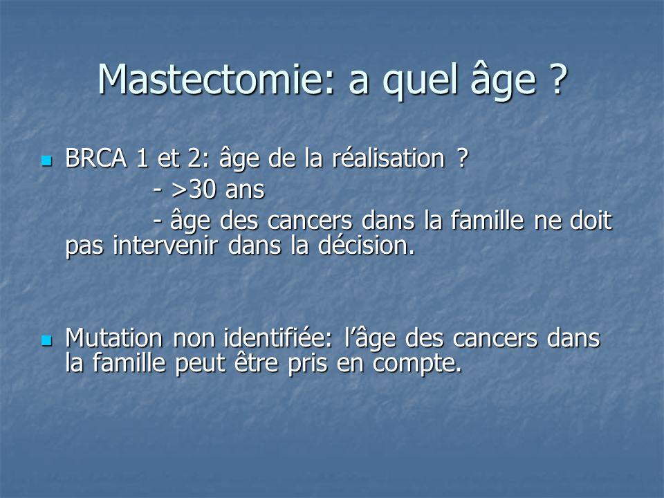 Mastectomie: a quel âge ? BRCA 1 et 2: âge de la réalisation ? BRCA 1 et 2: âge de la réalisation ? - >30 ans - >30 ans - âge des cancers dans la fami