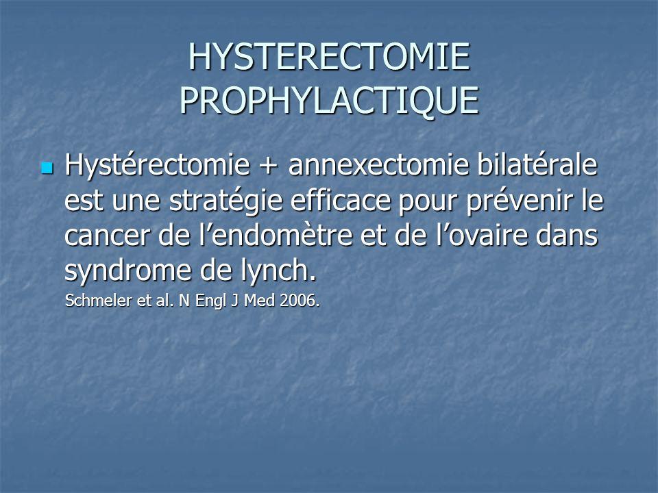 HYSTERECTOMIE PROPHYLACTIQUE Hystérectomie + annexectomie bilatérale est une stratégie efficace pour prévenir le cancer de lendomètre et de lovaire da