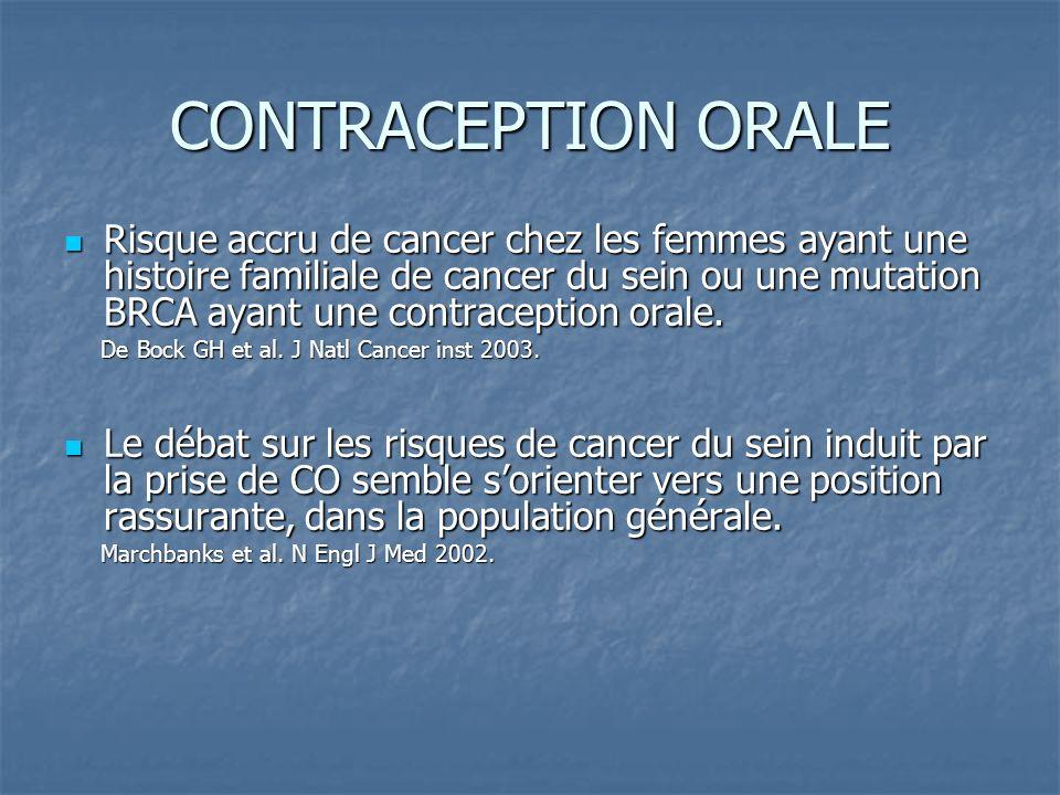 CONTRACEPTION ORALE Risque accru de cancer chez les femmes ayant une histoire familiale de cancer du sein ou une mutation BRCA ayant une contraception