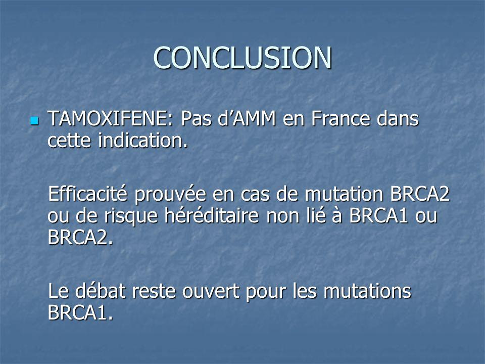 CONCLUSION TAMOXIFENE: Pas dAMM en France dans cette indication. TAMOXIFENE: Pas dAMM en France dans cette indication. Efficacité prouvée en cas de mu