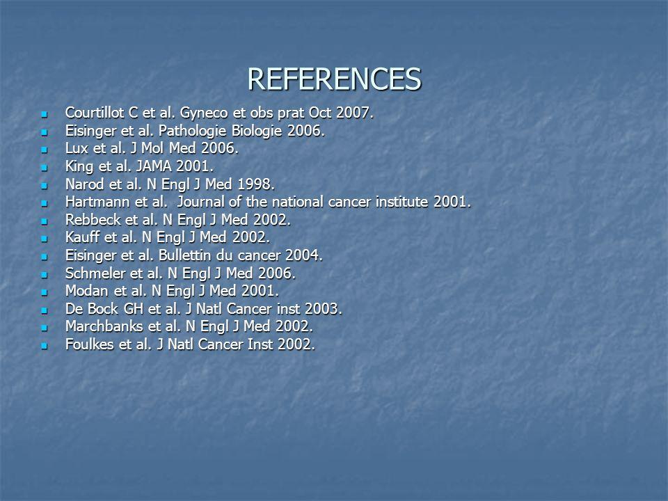 REFERENCES Courtillot C et al. Gyneco et obs prat Oct 2007. Courtillot C et al. Gyneco et obs prat Oct 2007. Eisinger et al. Pathologie Biologie 2006.