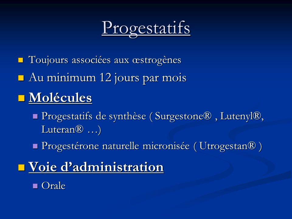 Progestatifs Toujours associées aux œstrogènes Toujours associées aux œstrogènes Au minimum 12 jours par mois Au minimum 12 jours par mois Molécules M