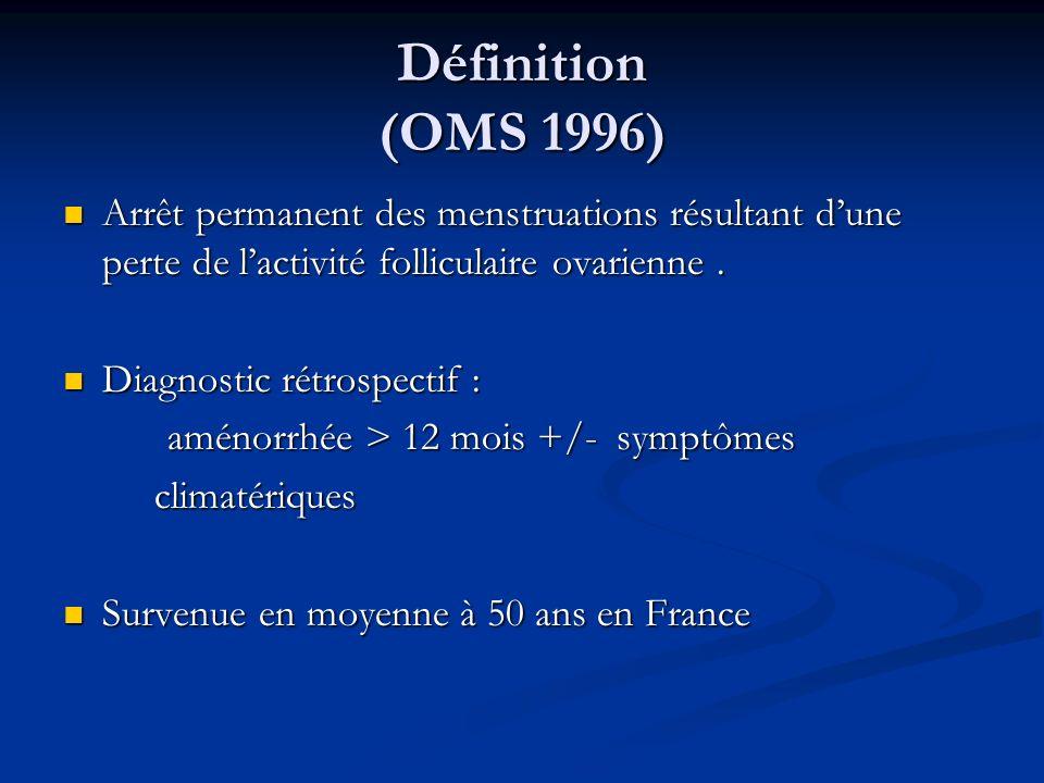 Définition (OMS 1996) Arrêt permanent des menstruations résultant dune perte de lactivité folliculaire ovarienne. Arrêt permanent des menstruations ré