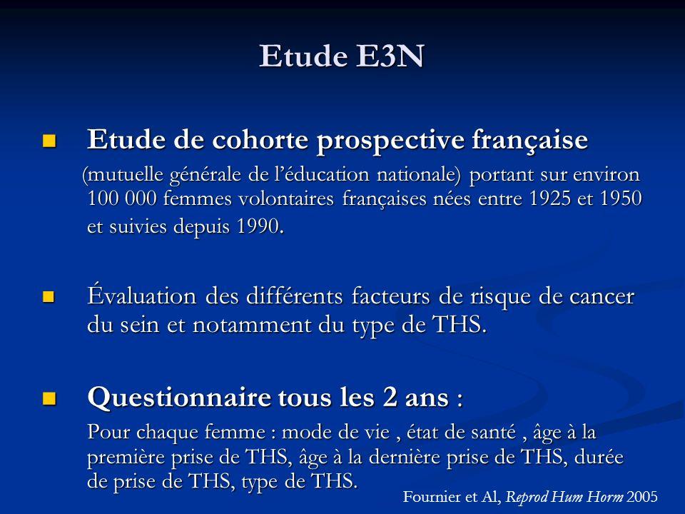 Etude E3N Etude de cohorte prospective française Etude de cohorte prospective française (mutuelle générale de léducation nationale) portant sur enviro