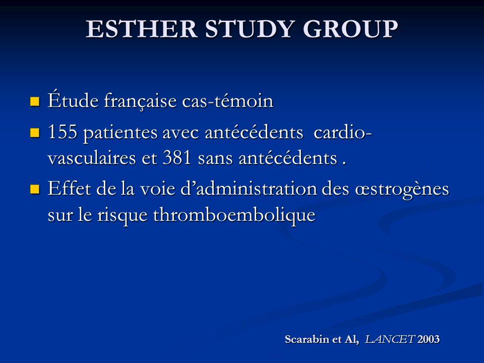 ESTHER STUDY GROUP Étude française cas-témoin Étude française cas-témoin 155 patientes avec antécédents cardio- vasculaires et 381 sans antécédents. 1