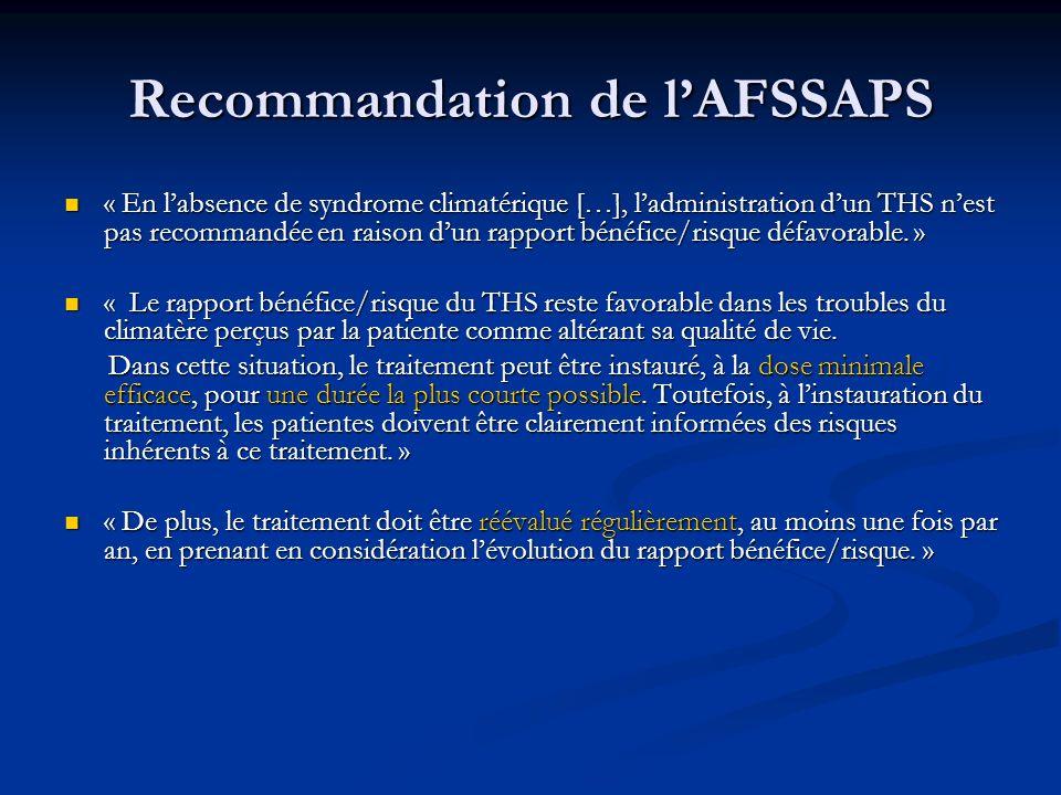 Recommandation de lAFSSAPS « En labsence de syndrome climatérique […], ladministration dun THS nest pas recommandée en raison dun rapport bénéfice/ris