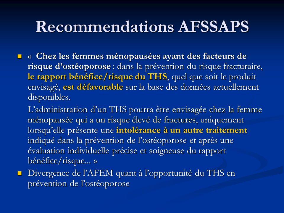Recommendations AFSSAPS « Chez les femmes ménopausées ayant des facteurs de risque dostéoporose : dans la prévention du risque fracturaire, le rapport