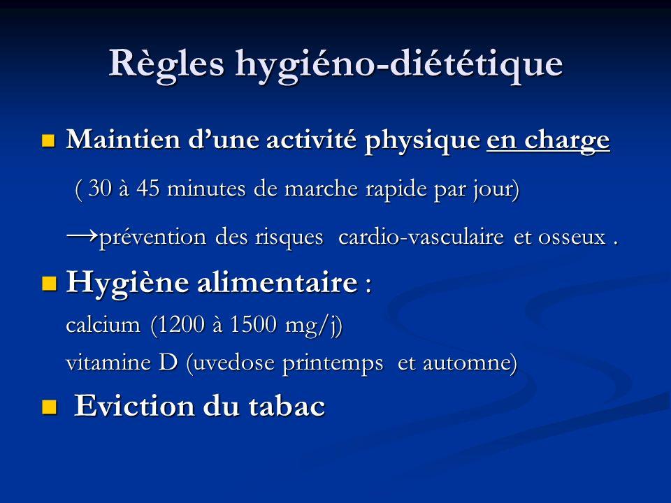 Règles hygiéno-diététique Maintien dune activité physique en charge Maintien dune activité physique en charge ( 30 à 45 minutes de marche rapide par j