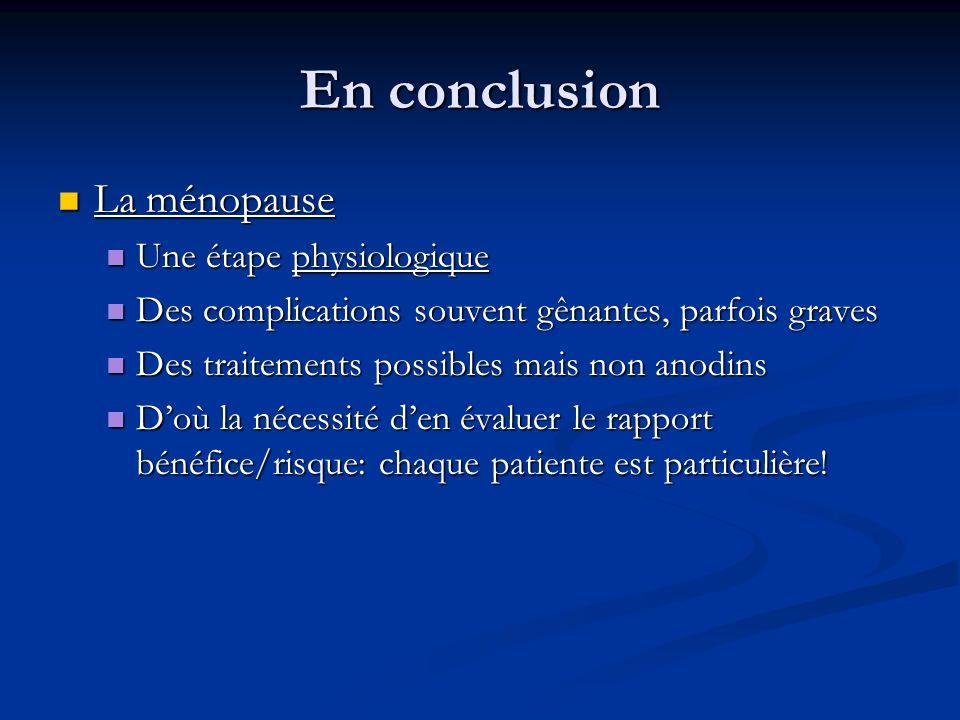 En conclusion La ménopause La ménopause Une étape physiologique Une étape physiologique Des complications souvent gênantes, parfois graves Des complic
