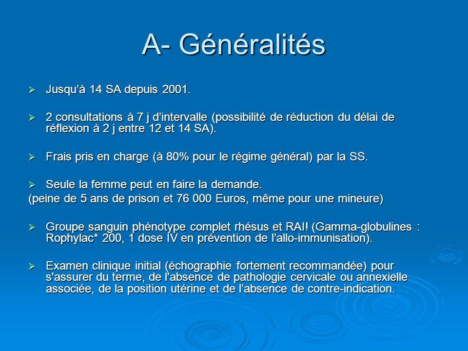 A- Généralités Jusquà 14 SA depuis 2001. Jusquà 14 SA depuis 2001. 2 consultations à 7 j dintervalle (possibilité de réduction du délai de réflexion à